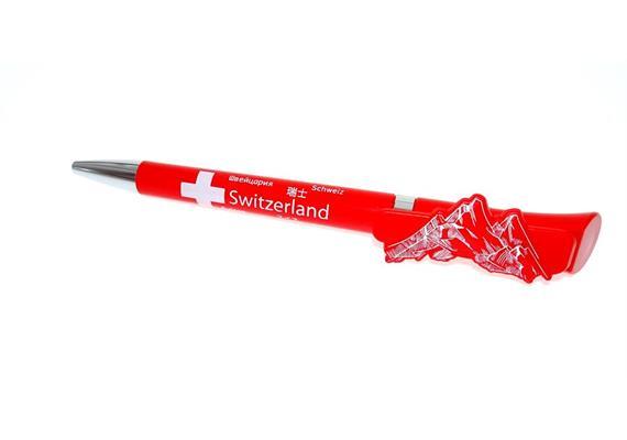 3D-Clip Kugelschreiber Switzerland rot Clip4you