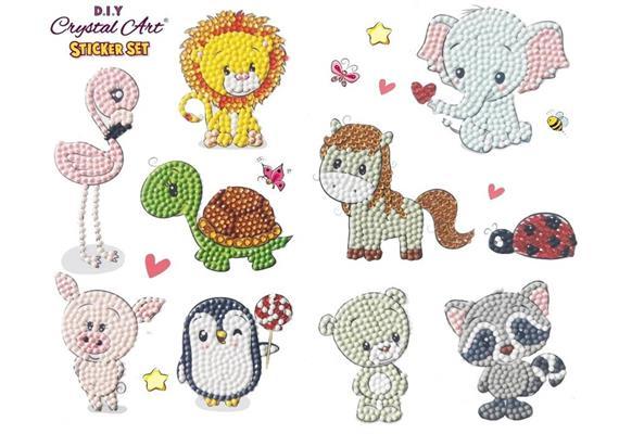 Animal Antics, 21x27cm Crystal Art Sticker Set