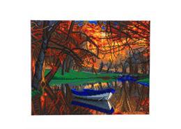 Autumn Forest Boat, 40x50cm Crystal Art Kit