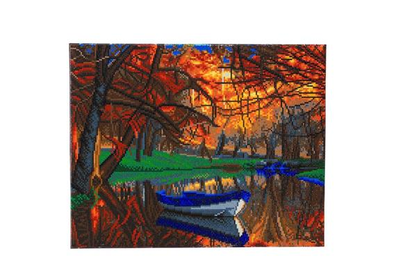 Autumn Forest Boat, 40x50cm Crystal Art Kit