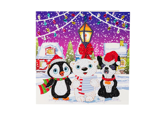 Carol Singers, 18x18cm Crystal Art Card