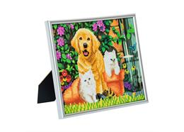 Cat and Dog: Friends for Life, 21x25cm Picture Frame Crystal Art