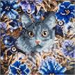 Cat & Flowers, 18x18cm Crystal Art Card | Bild 2