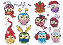 Cool Christmas Owls, 21x27cm Crystal Art Sticker Set