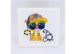 Cool Tiger, 16x16cm Frameable Crystal Art