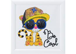 Cooler Tiger, Bild 16x16cm rahmbar Crystal Art