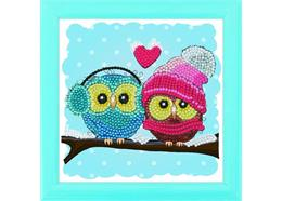 Cosy Owls, 16x16cm Frameable Crystal Art