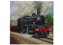 Dampflokomotive, Karte 18x18cm Crystal Art