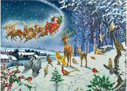 Der Flug des Weihnachtsmanns über den Wald, 90x65cm Crystal Art Kit