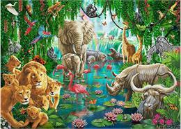 Die Tiere des Dschungels, 90x65cm Crystal Art