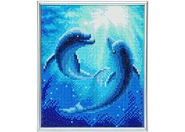 Dolphin Dance, 21x25cm Picture Frame Crystal Art