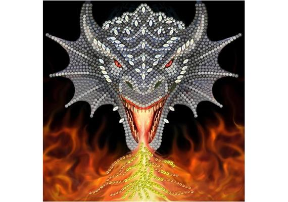 Dragon Fire Head, 18x18cm Crystal Art Card ANNE STOKES