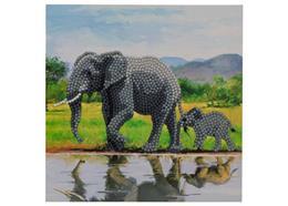Elefant, Karte 18x18cm Crystal Art