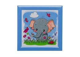 Elephant, 16x16cm Frameable Crystal Art