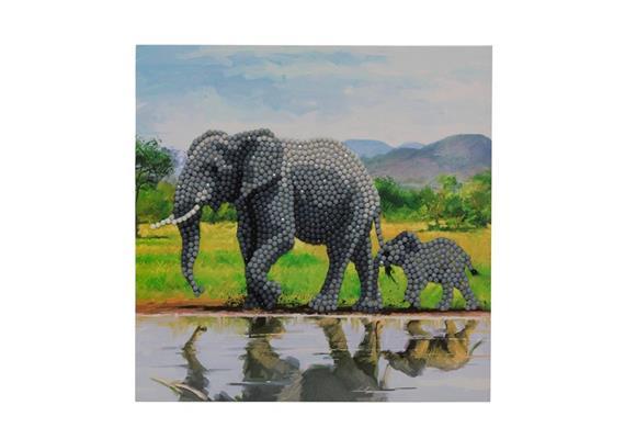 Elephant, 18x18cm Crystal Art Card
