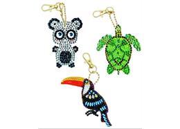 Exotische Tiere, Crystal Art Schlüsselanhänger 3 Stück