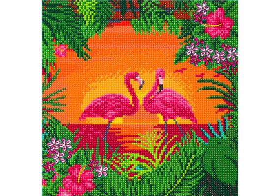 Fancy Flamingoes, 30x30cm Crystal Art Kit