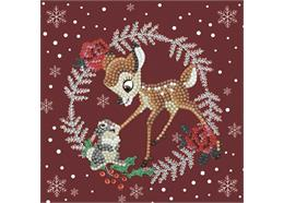 Festive Bambi, 18x18cm Crystal Art Card