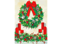 Festive Wreath, 21x29cm Giant Crystal Art Card