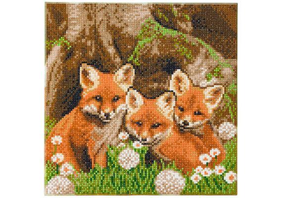 Fox Cubs, 30x30cm Crystal Art Kit