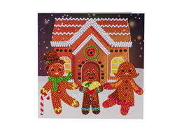 Gingerbread Family, 18x18cm Crystal Art Card