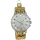 Glas Ornament Armbanduhr gold, 8 x 5cm