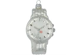 Glas Ornament Armbanduhr silber, 8 x 5cm
