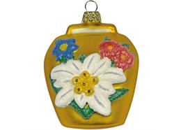 Glas Ornament Glocke in gold, 6 x 6cm