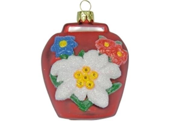 Glas Ornament Glocke in rot, 6 x 6cm