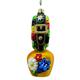 Glas Ornament Glocke mit Schleife Blumendekor, 9.2 x 4cm