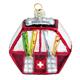 Glas Ornament Gondel mit CH-Kreuz
