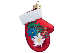 Glas Ornament Handschuh mit Edelweiss und Enzian, 7 x 5cm