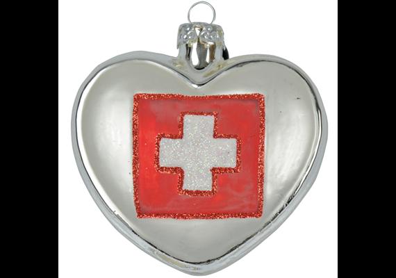 Glas Ornament Herz mit CH Kreuz, 6.5 x 6cm