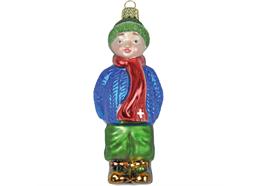 Glas Ornament Junge mit Geschenk, 9.5 x 4cm