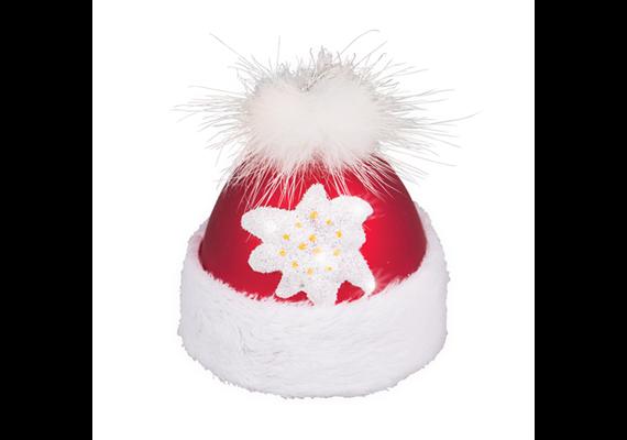 Glas Ornament Mütze mit Edelweiss zum aufhängen, 5 x 5.5cm