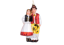 Glas Ornament Paar mit Tracht, 12 x 6cm