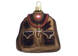 Glas Ornament Rucksack mit CH-Kreuz, 7 x 7.5cm