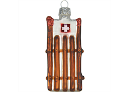 Glas Ornament Schlitte mit CH Kreuz, 7 x 3.5cm