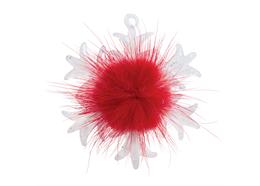 Glas Ornament Schneeflocke aus Glas, rot, 7.5 x 6.5cm