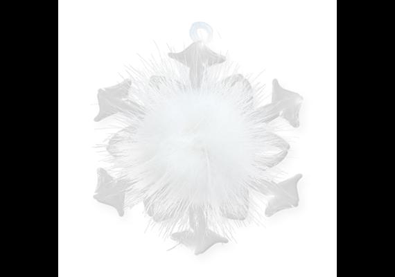 Glas Ornament Schneeflocke aus Glas, weiss, 7.5 x 6.