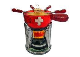Glas Ornament Schweizer Fondue Set, 7 x 8.5cm