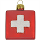 Glas Ornament Schweizerkreuz, Quadrat 4 x 4cm