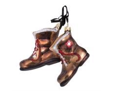 Glas Ornament Stiefel mit CH-Kreuz, 5.5 x 6.5cm