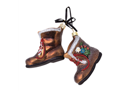 Glas Ornament Stiefel mit Edelweiss und Enzian, 5.5 x 6.5cm