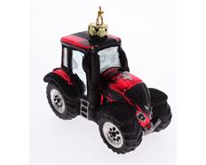Glas Ornament Traktor rot mit CH Kreuz 10cm lang, 7cm hoch, 5.5cm breit