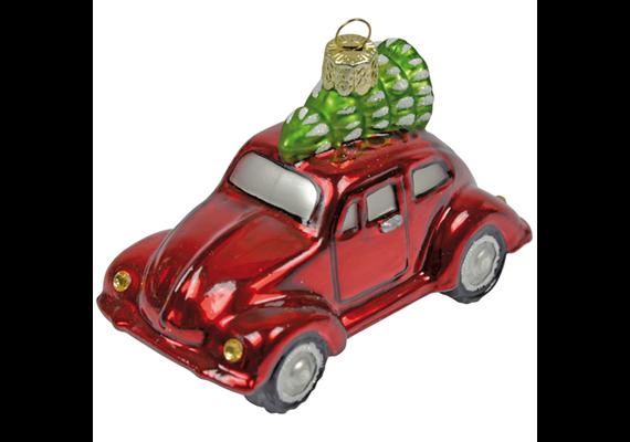 Glas Ornament VW Auto, 5 x 8.5cm