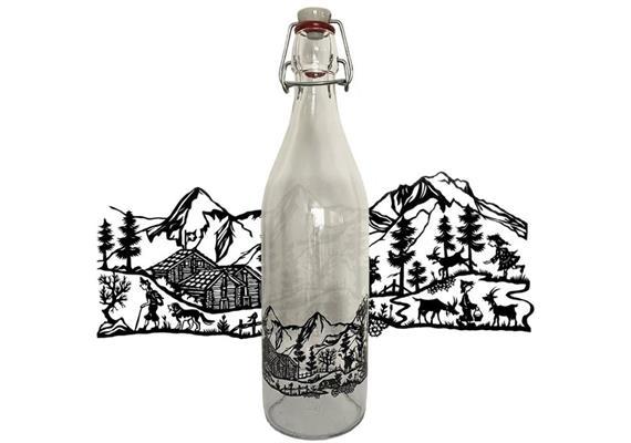 Glasflasche 1 Liter mit Scherenschnitt