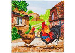 Hahn und Henne auf dem Bauernhof, 30x30cm Crystal Art Kit