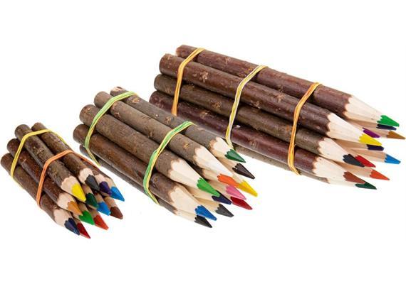 Holz Buntstifte mit Rinde im 12er Set, 12cm