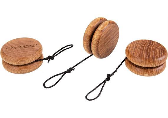 Holz Jojo aus Eiche geölt, gedrechselt Kordel schwarz